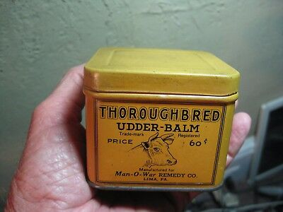 "Antique Thoroughbred UDDER BALM Tin Litho Vet Medicine Can Lima Pa OLD 3"" x 3"""