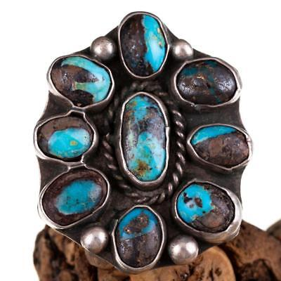 Navajo Turquoise Ring Sterling Silver NATURAL BISBEE Cluster OLD PAWN Vintage 7