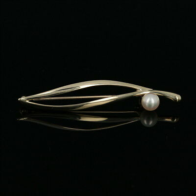 Mikimoto Akoya Pearl Leaf Brooch - 14k Yellow Gold Designer Pin