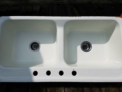 "Cast Iron, 42"" Double Porcelain Country Sink, REDUCED PRICE $50; Good Condition"