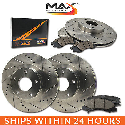 1996 1997 Lincoln Town Car Slotted Drilled Rotor w/Ceramic Pads F+R