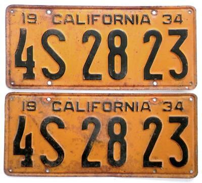 1934 CALIFORNIA YOM pair license plates 4S 28 23