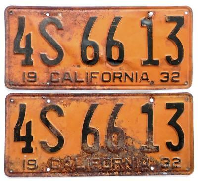1932 CALIFORNIA YOM pair license plates 4S 66 13