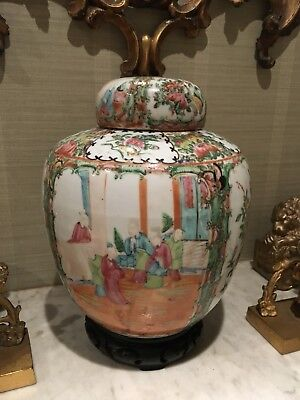19th CENTURY Large CHINESE FAMILLE ROSE PORCELAIN GINGER JAR AND COVER