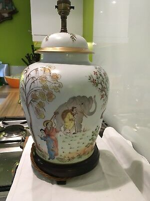 Stunning Vintage Chinoserie Gingr Jar Table Lamp,elephants Ect
