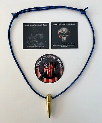.50 Cal Sniper HOG TOOTH Paracord ...Necklace ...+ 1 Decal ...Blue/Black
