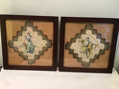 Pair Of Antique Hand painted Italian Silk Panels WithGold Thread Border