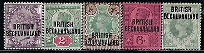 """Bechuanaland 1891  Scts #33-#37, S/G #33-#37, """"Black Surcharge"""" Complete Set M/H"""
