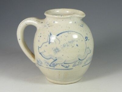 Small Stoneware Studio Pottery Jug With Pig Decoration - Incised Mark