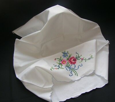 Lovely Vintage Richly Hand Embroidered Rose & Floaty Bow White Pillow Case