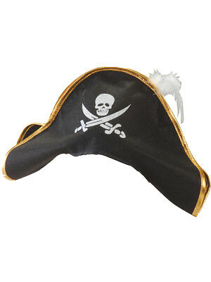 Adult Costume Black Pirate Hat with Gold Trim And White Feather