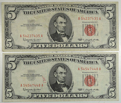 1963 $5 United States Notes - Lot Of 2 Vf