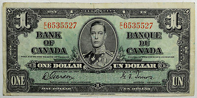 1937 $1 One Dollar Bank Of Canada Bank Note #58D, Fine/very Fine