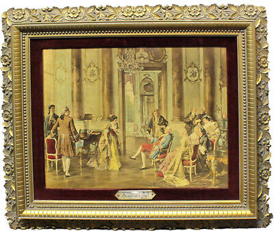 "Antique Victorian French ""Artists at Court"" Monotype Print by Wilson Carved Frm"