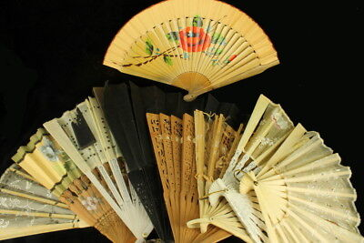 Antique Fans Qing Dynasty Chinese European Collection of 9 Carved Brise Camphor