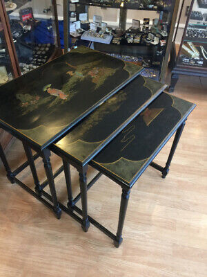 Vintage Hollywood Regency Ebonized Chinoiserie Nest Of Tables James Mont Style