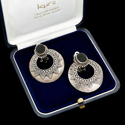 Antique Vintage Art Deco Style Sterling Silver Byzantine Bali Disc Onyx Earrings