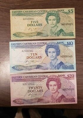 Eastern Caribbean States Lot of 3 Different Banknotes