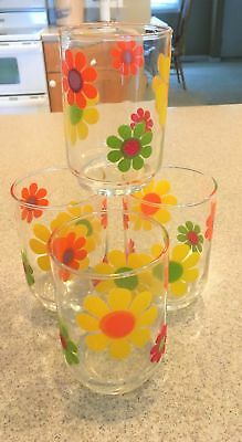 Vtg 4 Libby Raised Flower Embossed Drinking Glasses Tumblers  FLOWER POWER