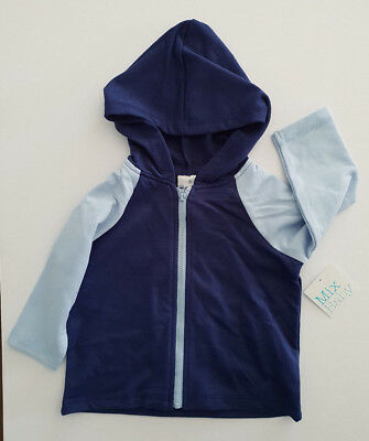 BNWT Mix Baby Size 0 Smart Light Blue Navy Colourblock Zip Front Hoodie Jacket