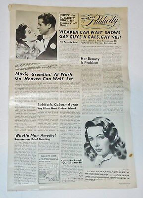 1943 Heaven Can Wait -  Movie Advance Publicity Flyer Poster Ameche & Tierney