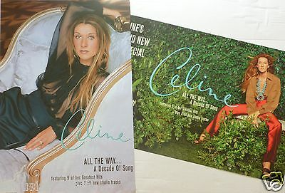 "Celine Dion ""all The Way...a Decade Of Song"" 2-Sided U.s. Promo Album Poster"
