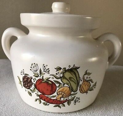 "VTG McCOY 8"" BEAN POT/COOKIE JAR SPICE OF LIFE PATTERN / Lid #340 / Pot #341."