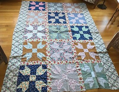 vtg Feedsack Quilt top Butterfly at the Crossroads 68 x 88 machine sewn unwashed