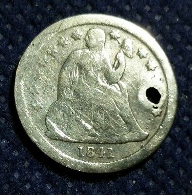 US Old 1841 Seated Liberty Dime Silver Coin 10 cents USA Pinholed