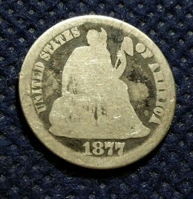 US Old 1877 Seated Liberty Dime Silver Coin 10 cents USA