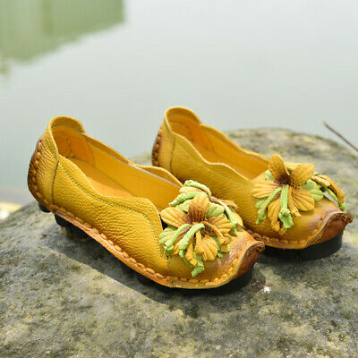 US SOCOFY Women Handmade Leather Shoes Flats Blossom Soft Casual Ballet Loafers