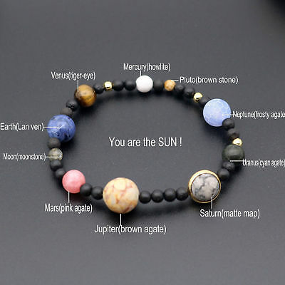 Universe Solar System Galaxy Eight Planets Stone Beads Bracelet Handmade Gift