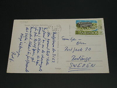 Barbados 1967 postcard to Sweden *13381