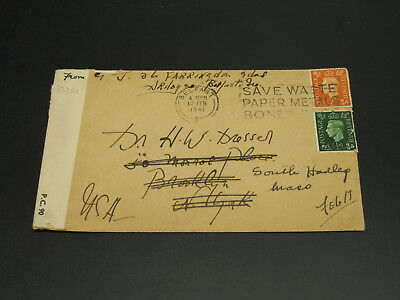 UK 1941 censored cover to USA *13202