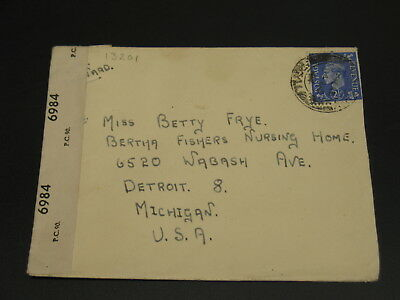 UK 1944 airmail cover to USA *13201