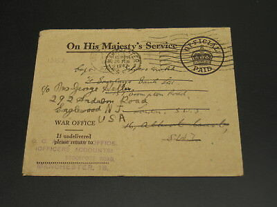 UK 1942 OHMS cover to USA *13152