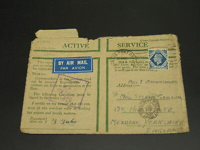 UK 1943 airmail censored active service cover faults *13142