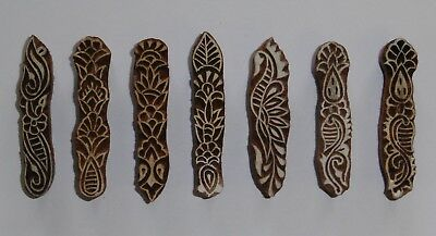 Long Floral Indian Hand Carved Wooden Printing Blocks - Set of 7