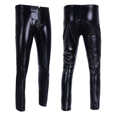 Herren Strumpfhosen Wetlook Glanz Lack-optik Schwarz Leggings enge Hosen Pants