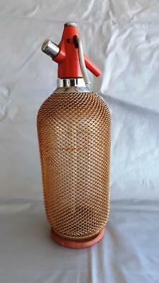 Collectable Vintage Retro Syphon Soda Glass Bottle Wiremesh Czechoslovakia Made
