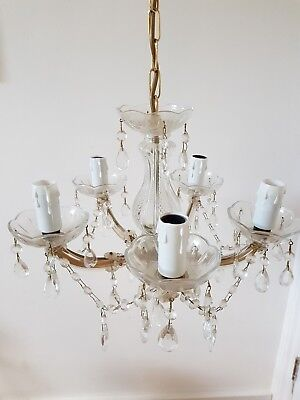 French Style Vintage Glass And Crystal 5 Arm Chandelier