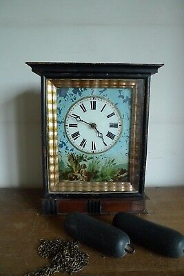 Antique Pendulum Clock Foret Black Wall Time End Xix