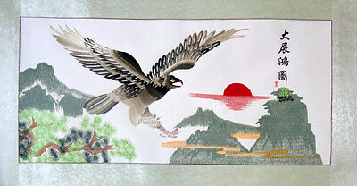 stunning  chinese famous handmade large  embroidery painting-eagle,landscape,sun