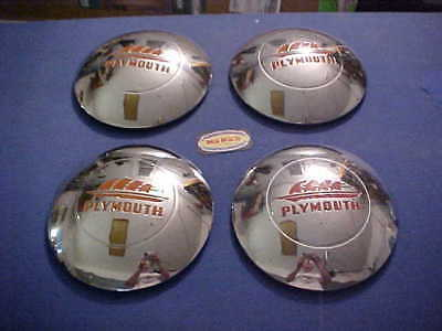 1946-47-48 Mopar Plymouth Special Deluxe Hubcaps Set Of 4