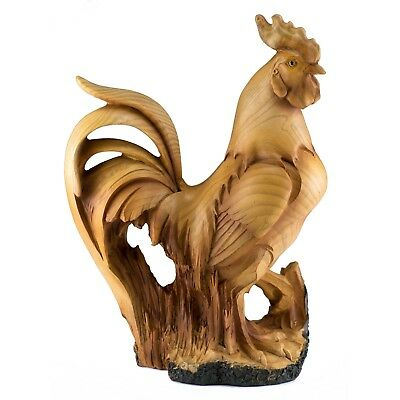 Rooster Chicken Faux Carved Wood Look Figurine Resin 9 Inch High New In Box!