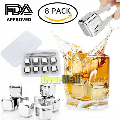 8x Stainless Steel Ice Cubes Chilling Stone Rock Reusable For Whiskey Wine Drink