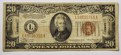 1934 $20 Federal Reserve Note SF HAWAII Emergency Issue WWII L69695355A