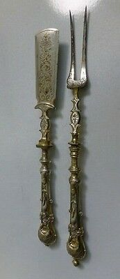 *Rare* 18th Century Gold Wash Two Tine Fork & Food Pusher W/ Silver handles