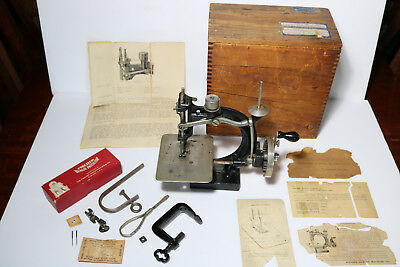 RARE ANTIQUE SPENSER AUTOMATIC SEWING MACHINE CHILD SIZE w/ ORIG. CRATE & EXTRAS