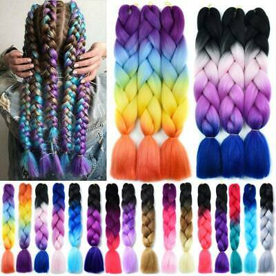 US Ombre Synthetic Afro Twist Braids Kanekalon Braiding Hair Extension Bundle 24
